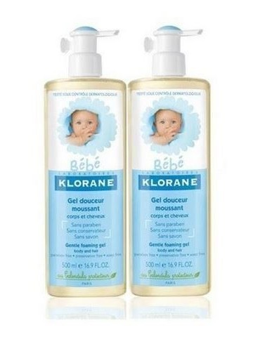 Gel Klorane cuerpo-cabello bebé 500ml duplo